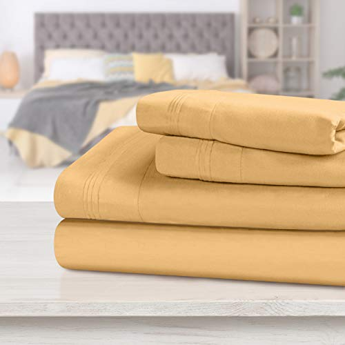 SUPERIOR Egyptian Cotton Solid Bed Sheet Set, King, Gold,...