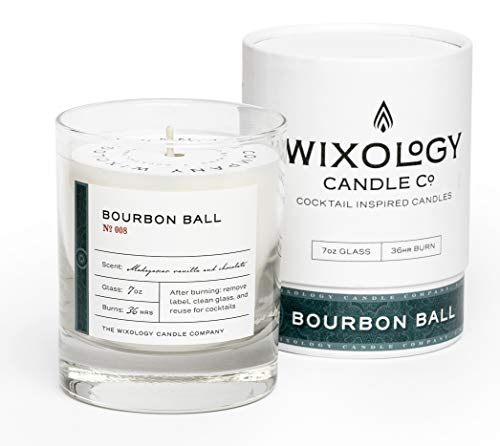 Wixology Cocktail Inspired Bourbon Soy Candle - Reusable Rocks Glass - Made in Kentucky - 7 oz (Bourbon Ball)