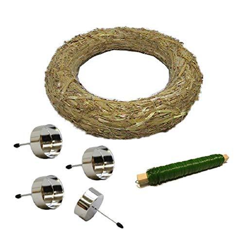 Decpero Corona de Adviento para manualidades, 6 piezas, con portavelas plateados