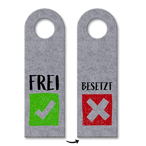 trendaffe - Besetzt oder Frei Türhänger in Grau mit Symbolen für die Toilettentür Klopapier