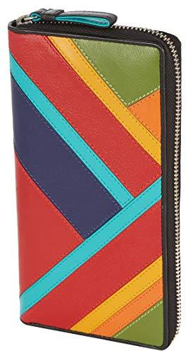 Visconti ® Leder Portemonnaie Damen RFID Schutz Geldbeutel Damen Geldbörse Bifold Mehrfarbig Portmonee in Geschenk-Box Clara (Multi)