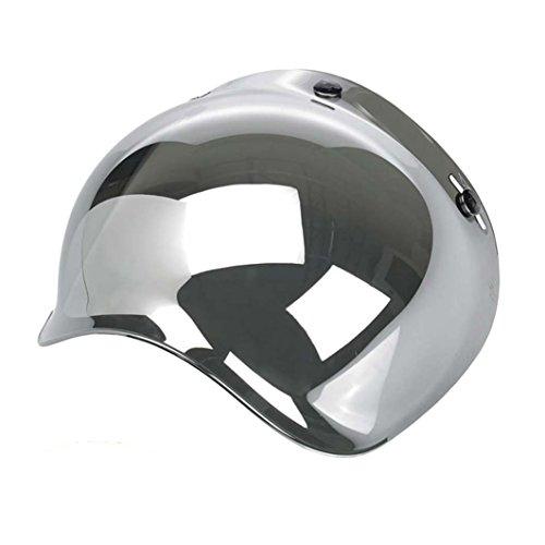 Bubble - Visera burbuja universal, con 3botones, para casco jet, homologada, compatible con cascos Biltwell, Bell, DMD, Bandit, Yam, AFX, Nolan, AGV MULTI TAGLIA Specchio