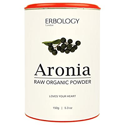 Raw Organic Aronia Powder 150g - For Healthy Heart - Rich in Anthocyanins - Powerful Antioxidant - Chokeberry from Erbology