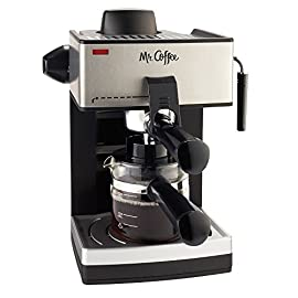 Mr. Coffee 4-Cup Steam Espresso System with Milk Frother 8 Steam Heat feature forces hot steam through the filter for dark, rich espresso brew Frothing arm makes creamy froth to top off your cappuccinos and lattes Easy pour glass carafe serves up to 4 shots. To avoid espresso maker to be too noisy during operation make sure the water reservoir is full and properly fitted into its position