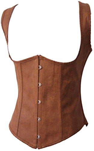 Alivila.Y Fashion Womens Faux Leather Steampunk Underbust Steel Boned Corset 2672A-Brown-L