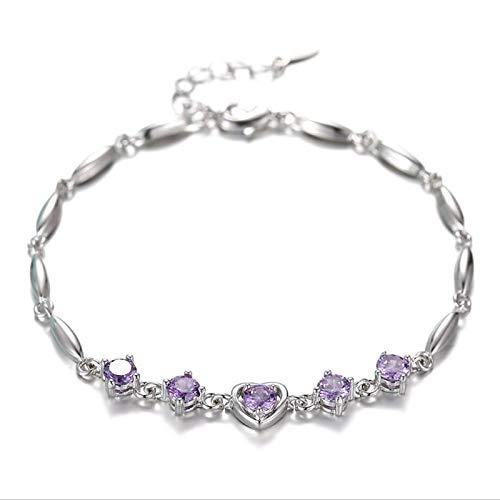 Nobrand Crystal Purple Mujer Tobilleras joyería Moda Chica 925 Pulser