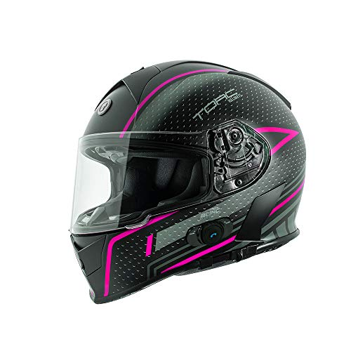 TORC T14B Bluetooth Integrated Mako Full Face Motorcycle Helmet With Graphic (Pink, Large)