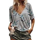 Wtouhe Women's Tops, 2019 Summer Fashionable Short Sleeve Chiffon T-Shirt for Women, White, Orange, Purple, Green, Blue, Women's Short Sleeve Shirt, V-Neck Shirt, Chiffon, Multiple Size