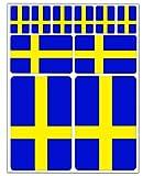 Biomar Labs® 10pcs Pegatina Suecia Bandera Sueca Sweden Flag Vinilo Adhesivo Coches Cascos Motos Ciclomotores Bicicletas Ordenador Portátil D 25