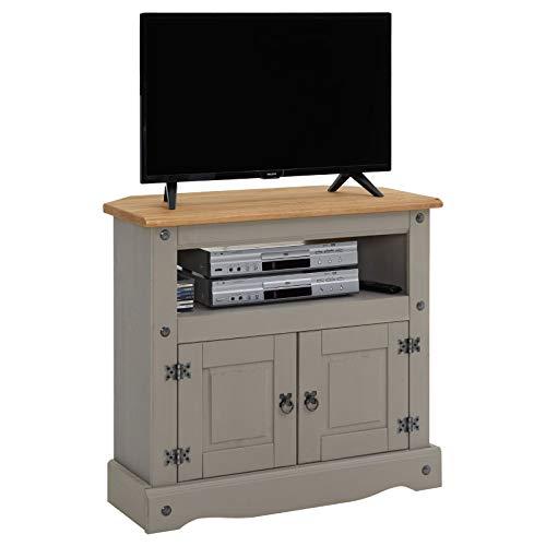 CARO-Möbel TV Rack RAMNON Regal TV Schrank Kiefer massiv im Mexiko Stil, grau gebeizt/gewachst, 2 Türen, 1 offenes Fach