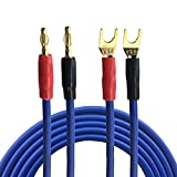 Banana To Spade Tape 2y Altavoz Cable de Cable para el Subwoofer del Subwoofer AMP Caja de Sonido OFC Cable DE Audio PLAZADO DE Dorado 1m 2m 3m 5m 8m (Length : 5meter)
