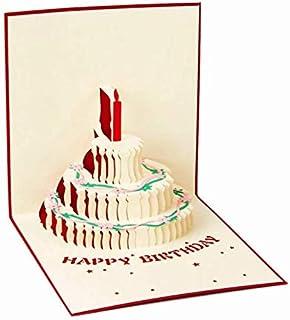 بطاقة عيد ميلاد 15 × 15 سم إبداعية ثلاثية الأبعاد مصنوعة يدوياً بطاقة كعكة مجوفة مع مغلف أحمر