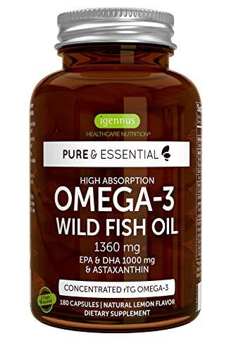Pure & Essential Omega-3 Olio di Pesce Selvatico ad alto dosaggio 1360mg – & Astaxantina. 1000mg EPA & DHA, gusto limone, 180 capsule