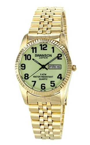 Swanson Men's Gold Day-Date Watch Luminescent Glow Dial Large Numbers