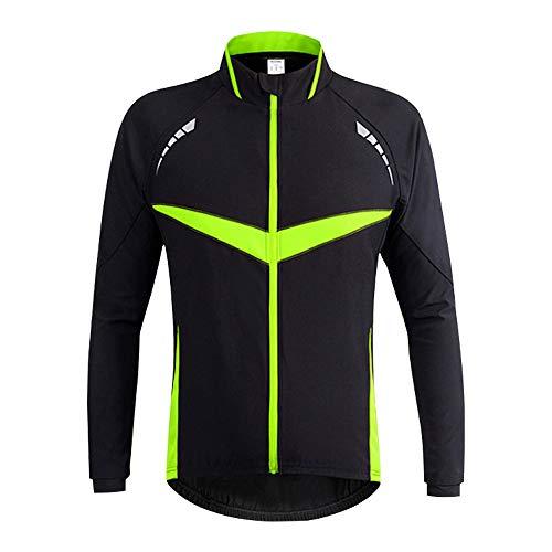 d.Stil Herren Fahrradjacke Winddichte wasserdichte Winter Radjacke MTB Mountainbike Jacket Visible reflektierend, Fleece Warm Jacket Gr.S-2XL (Schwarz Grün, XXL)