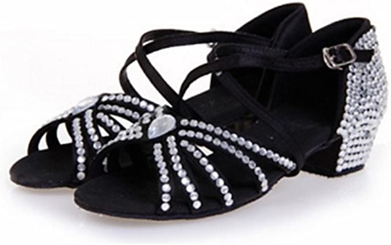 T.T-Q Chaussures de Danse pour Femmes Talon Aiguille Satin Argent intérieur