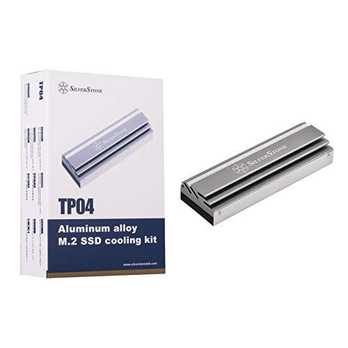 Silverstone TP04, Kit de refrigeración para SSD M.2 de aleación de Aluminio, Gris Titanio, SST-TP04T