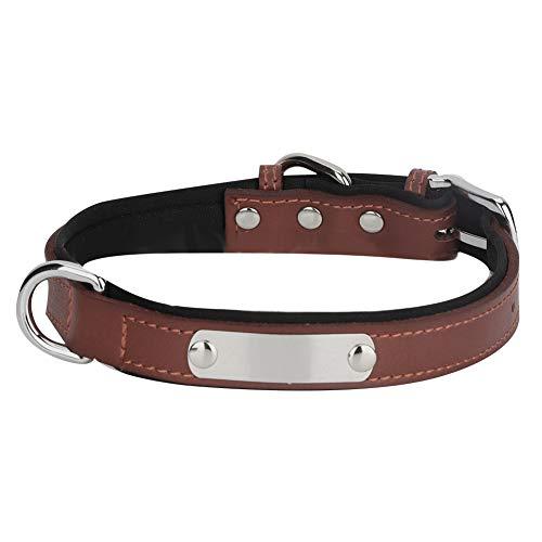 Collar De Perro Cuello De Perro PU De Cuero De PU Ajustable con Placa De Acero Inoxidable Nombre Grabado (Marrón M)