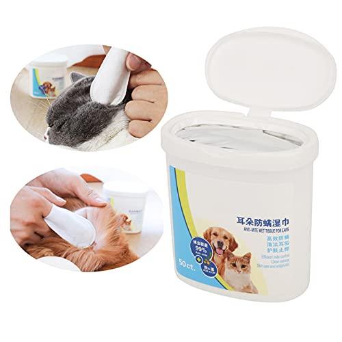 Ong Toallitas limpiadoras para Mascotas, Toallitas para el Cuidado Dental de Mascotas Toallitas para los Dedos para aliviar los oídos, portátiles para Viajes a la Playa