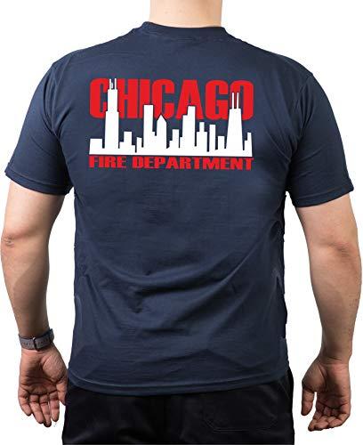 feuer1 T-shirt bleu marine, Chicago Fire Dept. avec horizon bicolore (blanc/rouge)