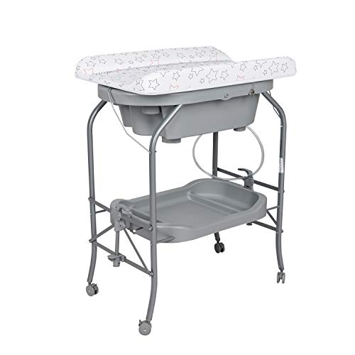 2 in 1 Baby Diaper Changing Table w/Wheels, Grey – Portable Changing Table Station w/Bathtub Combo