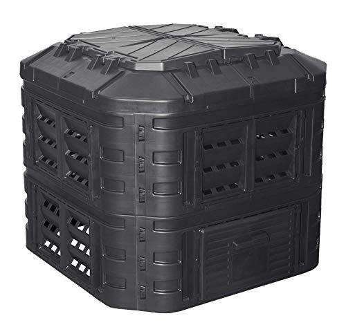 Komposter 600L aus Kunststoff, Schnellkomposter mit Belüftungssystem, modular steckbar, für ideale Zersetzung