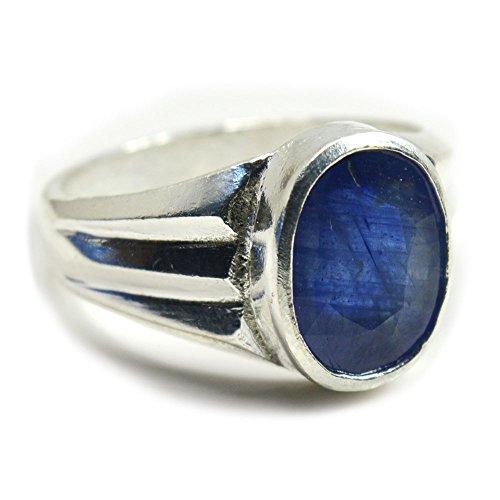 Jewelryonclick - Anello da uomo in argento zaffiro blu con segno zodiacale da 4 carati, misura H-Z e Argento, 70 (22.3), colore: Blu, cod. 3MJCBSMKR102-Z