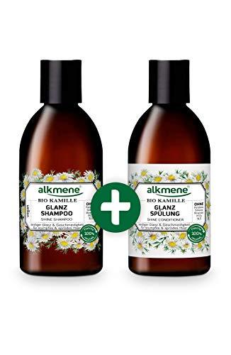 alkmene Glanz Shampoo & Spülung mit Bio Kamille - Haarpflege Set für stumpfes & sprödes Haar - vegane Haarpflege ohne Silikon, Parabene, Mineralöl, SLS & SLES im Vorteilspack (2x 250 ml)