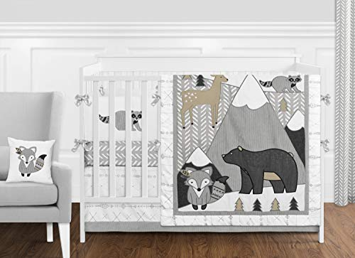 Sweet Jojo Designs Beige, Grey and White Boho Mountain Animal Gray Woodland Forest Friends Baby Unisex Boy or Girl Nursery Crib Bedding Set with Bumper - 9 Pieces - Deer Fox Bear