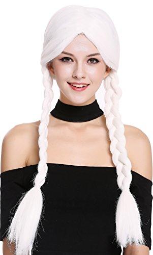 WIG ME UP- 90958-ZA60 Peluca Mujer Carnaval Halloween Blanco Largo Trenzas Trenzadas Colegiala traviesa