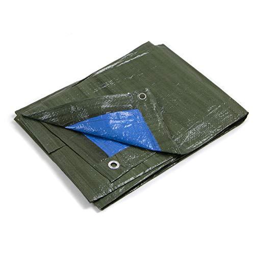 STI Telo OCCHIELLATO 85 gr Verde Blu Impermeabile COPRITUTTO Multiuso Misura 2x2mt