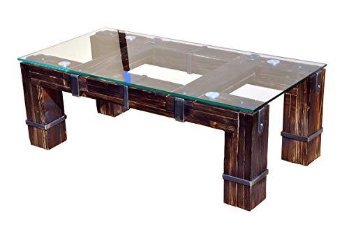 CHYRKA® Wohnzimmertisch Couchtisch Massivholz Metall Glastisch Holz Glas LEMBERG DROHOBYCZ Loft Handmade (Drohobycz-Natur, 90x60 cm H=40 cm)