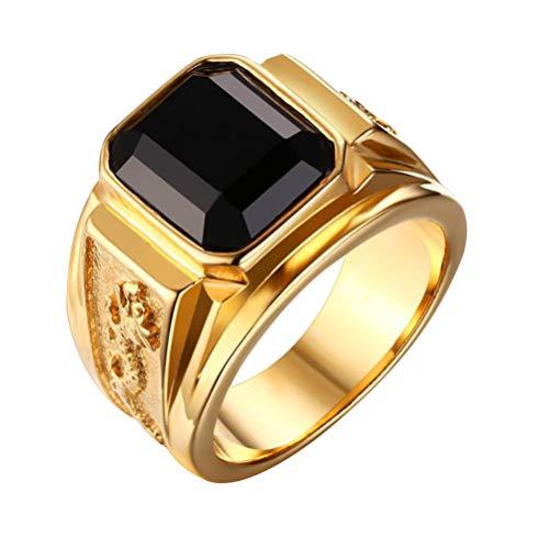 Holibanna Anel quadrado dourado vintage com pedra grande strass preto anel de símbolo presente de Dia dos Namorados anel de zircônia para joias masculino