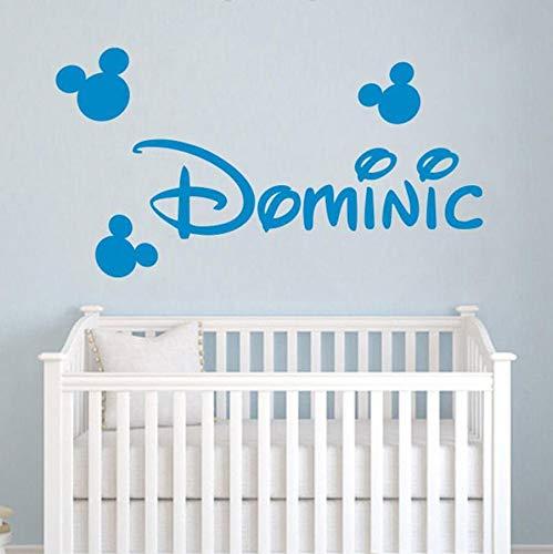 Pegatinas de pared calcomanías de vinilo anime cartoon mouse head orejas pegatinas de vinilo calcomanías nombre del bebé decoración dormitorio decoración de jardín de infantes