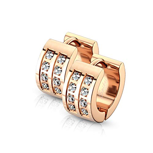 Bungsa Orecchini ad anello Brillantinati oro rosa Acciaio inossidabile Donna