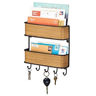 mDesign 2-Tier Entryway Mail Organizer and Key Rack - Wall Mount, Bronze/Teak Finish