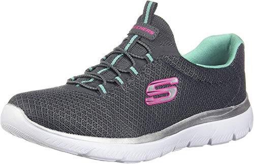 Skechers Women's Summits Sneaker, Charcoal/Green, 5.5 M US