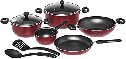 Prestige 2724290000000 9-Piece Non-Stick Cookware, Red, W 61.2 x H 36.0 x D 23.6 cm, Aluminum