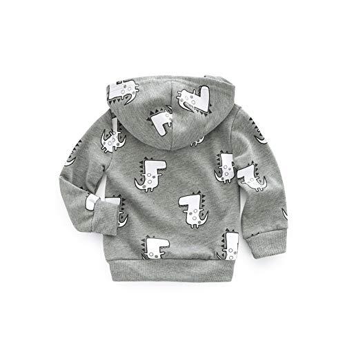 Gyratedream herfst baby trainingspak comic dinosaurus bedrukte hoodie ritssluiting jas kinderen jas outfits tops XL H