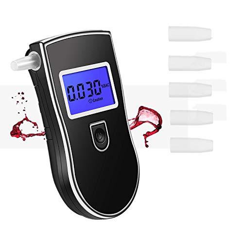 AnTom Alcoholímetro, Detector de Alcohol Profesional y portátil con Sensor de semiconductores Probador de alcoholímetros con Pantalla LCD y boquillas de 5 Piezas