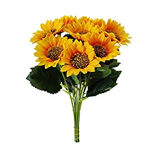 Rickitrty 10PCS Artificial Flowers in Vase for Home Decor Indoor, Spring & Summer Sunflower Plastic Silk Flower Latex Real Bridal Bouquet Home Bedroom Living Room DIY Centerpiece Decoration