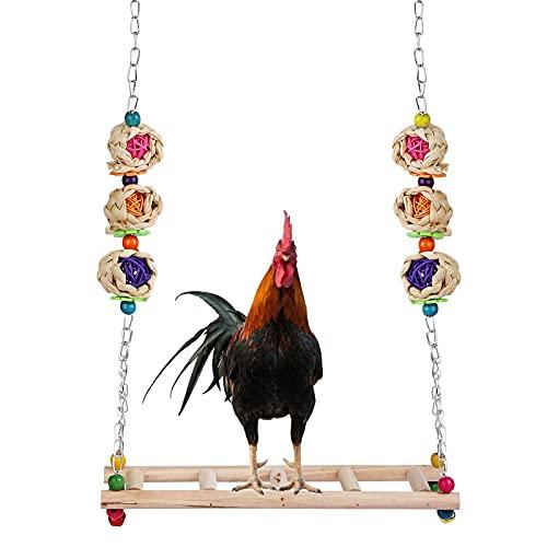 BYZESTY Columpio de pollos, juguete para pájaros, escalera
