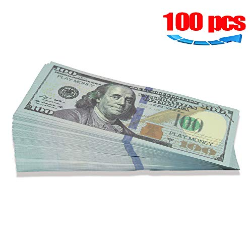 Movie Prop Play Money 10000 Full Print 2 Sided,100 pcs 100 Dollar Bills Stack,Copy Money for Movies,Videos,Fun,Teaching and Birthday Party