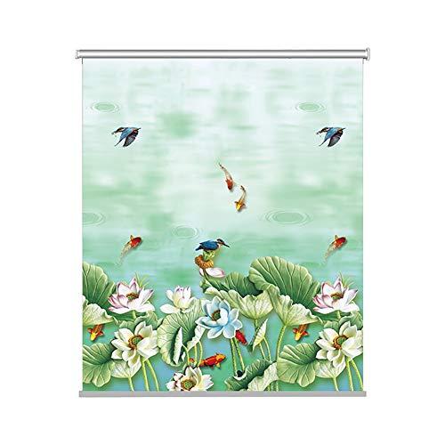Persianas enrollables ZLI Lotus con Dibujos Térmica Apagón Persiana, Verdes Persianas de Las Ventanas a Prueba de Agua for el Baño de Privacidad Protección, 60/80/100/120/130cm Ancho