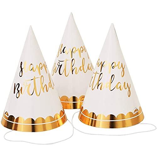 Juvale Partyhütchen Happy Birthday (Set, 12 Stück) - Papierhüte mit Elastischer Schnur zum Geburtstag für Erwachsene und Kinder - Weiß, Schrift und Akzente aus Goldfolie, 10,2 x 15,2 cm