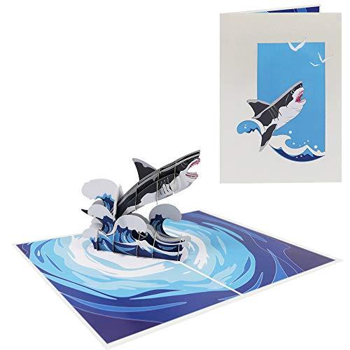 Karte Haifisch Geburtstagskarte Glückwunschkarte Fisch Gutschein für Glückwunsch Geburtstag Freizeit Meer See Urlaub - Haifisch Megalodon