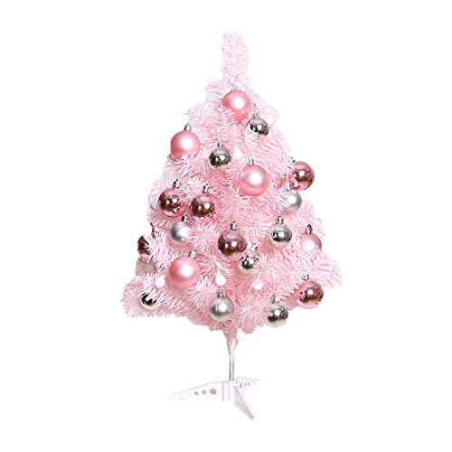 Jermous 24 inch Pink Artificial Christmas Tree Tabletop Christmas Tree with Glitter Balls and Led Lights Artificial Xmas Pine Tree Christmas Tree Home Indoor Decoration