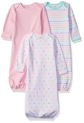 Amazon Essentials - Pack de 3 sacos de dormir de bebé para niña, Girl Heart, US 0-6M (EU 56-68)