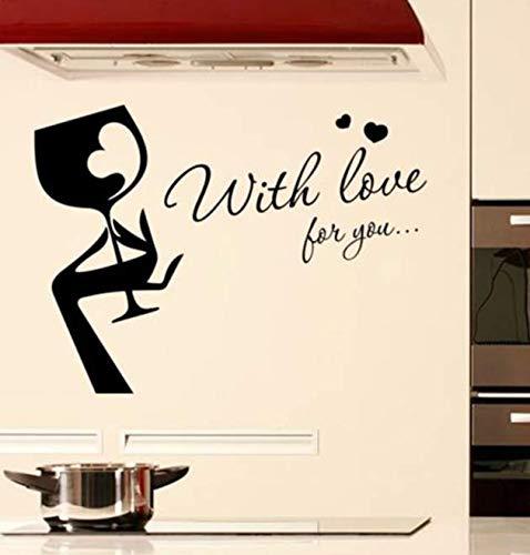 Copa de vino con amor para ti Mano Arte Etiqueta de la pared Calcomanía Cocina Bar Pub Decoración de la pared Extraíble Decoración del hogar Papel tapiz 77 * 56Cm