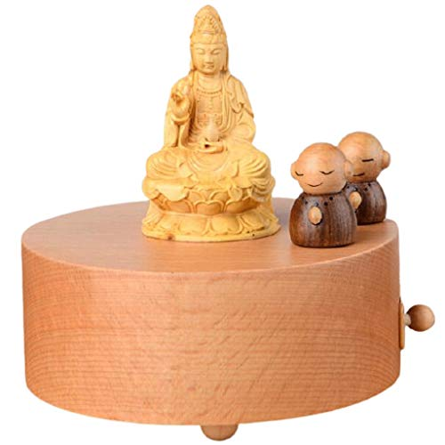 LZL Caja de música Buddha Cajas de música Madera Antigua grabada Caja Musical Regalo for cumpleaños christmasthanksgiving Days a Mano Cajas Musicales (Color : Guanyin Bodhisattva)